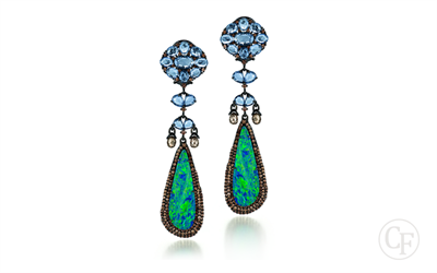 Hanging Sapphire,Diamond and Opal Earring